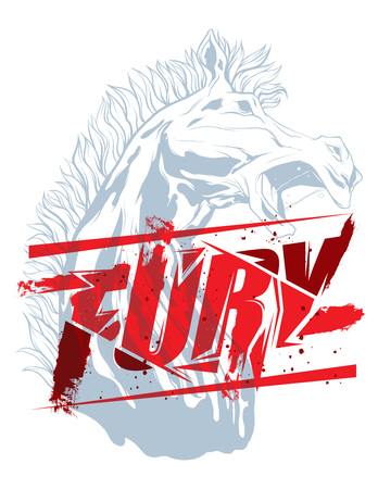 Pure fury illustration with horse head silhouette Illustration