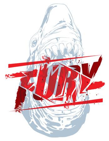 Pure fury illustration with shark head silhouette Illustration