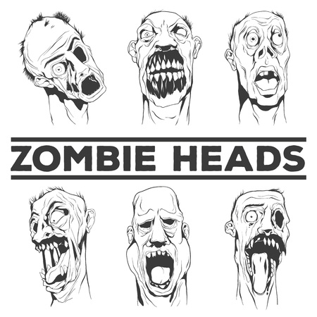 Zombie heads collection. Six ugly heads. Hand drawn vector illustrations. Illustration