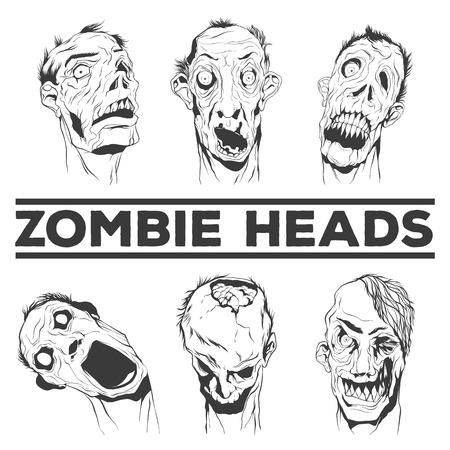 ugly people: Zombie heads collection. Six ugly heads. Hand drawn vector illustrations. Illustration