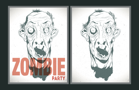 ugly man: Vector party Poster. Zombie party invitation set. Illustration