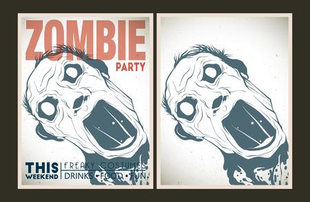 muerte: Partido cartel del vector. Establece la invitaci�n del partido del zombi.