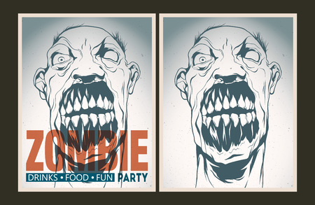 horror face: Vector party Poster. Zombie party invitation set. Illustration