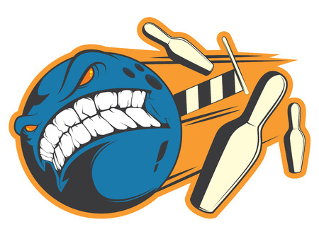 Crazy bowling sticker concept template for funny design. Illustration