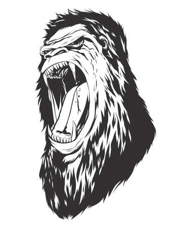 monochromatic: Ape head. Monochromatic logo for your t-shirt.