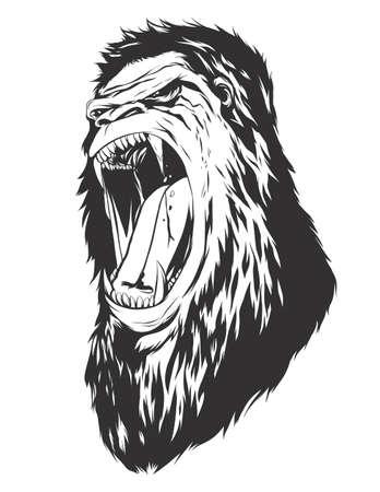 fury: Ape head. Monochromatic logo for your t-shirt.