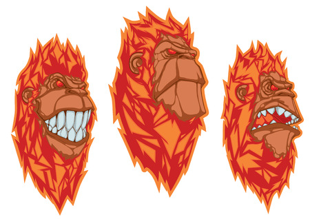animal teeth: Burning monkey heads. Chinese symbol of the year. Sticker concept Illustration