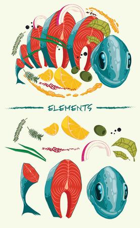 limon caricatura: pescado fresco en rodajas con especias y verduras.