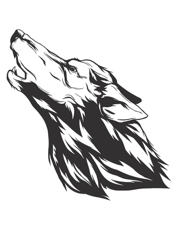 Howling wolf head. Monochromatic icon for your t-shirt. Illustration