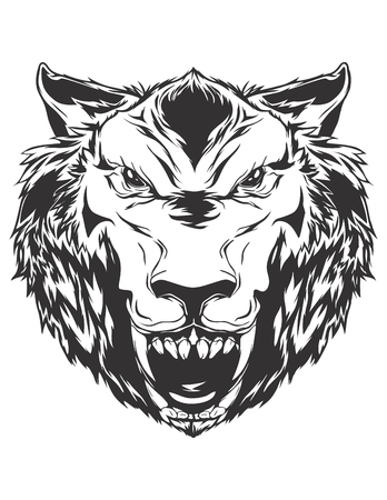 growling: Angry wolf head. Monochromatic icon for your t-shirt.