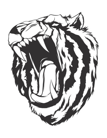 monochromatic: Tiger head. Monochromatic logo for your t-shirt. Illustration