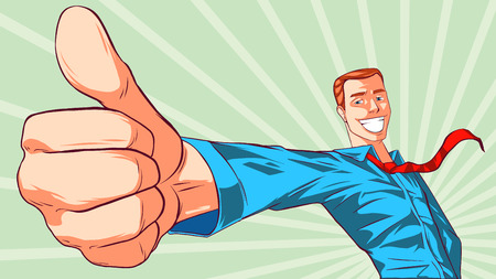 Smiling man giving thumbs up sign Illustration