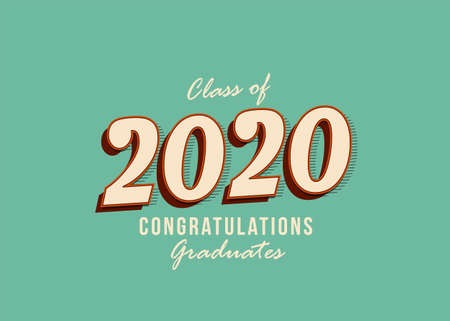 Class of 2020 Vector text for graduation vintage design, congratulation event, party, high school, or college graduate. lettering for greeting, invitation card
