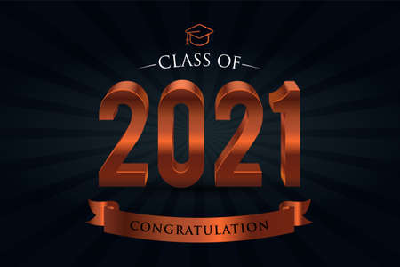 Class of 2021. Congrats Graduates. 3d lettering with Bronze and black color Vectores