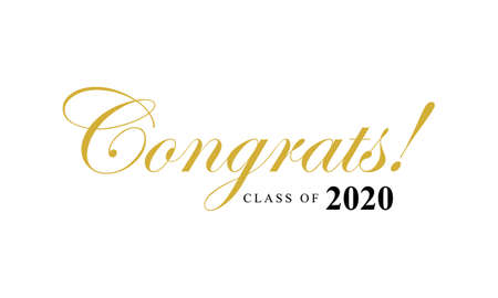 Class of 2020, lettering for greeting, congratulation event, party, high school or college graduate, invitation card Vectores