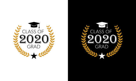 Class of 2020, lettering for greeting, congratulation event, party, high school or college graduate, invitation card  イラスト・ベクター素材