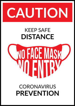 Warning sign without a face mask no entry and keep a distance. Vector front door plate.