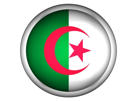 National Flag of Algeria | Button Style |  Isolated photo