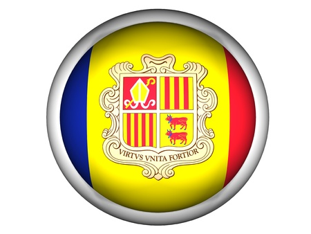 National Flag of Andorra | Button Style |  Isolated photo