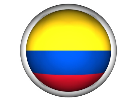 National Flag of Colombia | Button Style |  Isolated photo