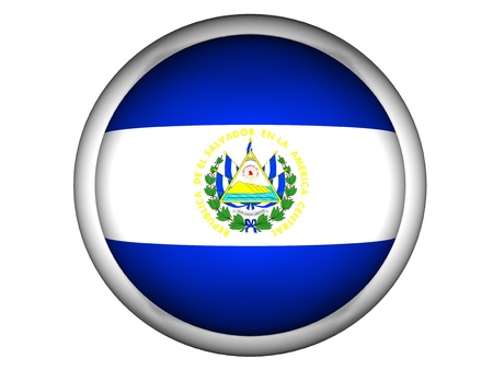 National Flag of El Salvador | Button Style |  Isolated photo