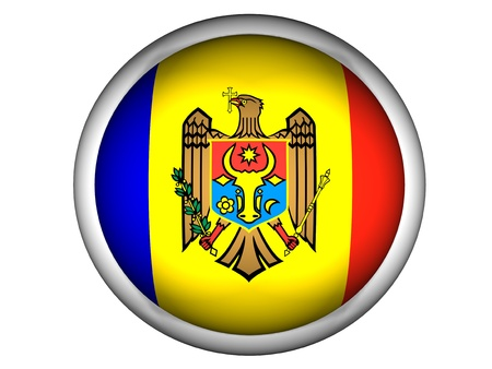 National Flag of Moldova | Button Style |  Isolated Stock Photo