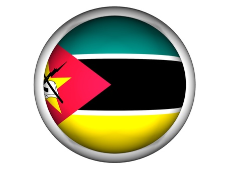 National Flag of Mozambique | Button Style |  Isolated photo
