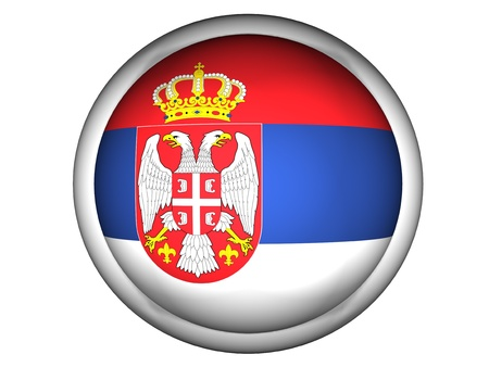 serbia: National Flag of Serbia | Button Style |  Isolated
