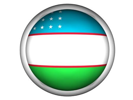 National Flag of Uzbekistan | Button Style |  Isolated photo