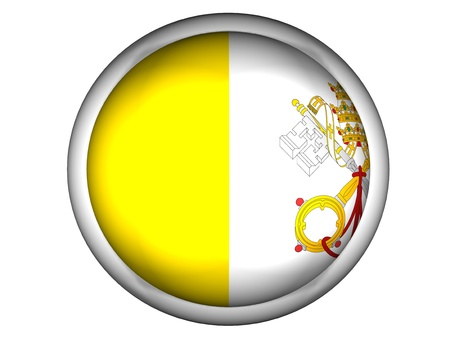 National Flag of Vatican City | Button Style |  Isolated photo