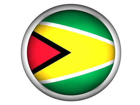 guyana: National Flag of Guyana | Button Style |  Isolated