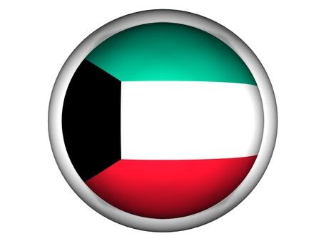 National Flag of Kuwait | Button Style |  Isolated photo