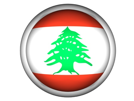 National Flag of Lebanon | Button Style |  Isolated photo