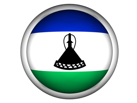 LESOTHO: National Flag of Lesotho | Button Style |  Isolated