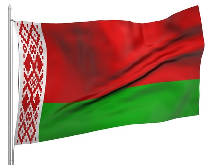 belarus: Flying Flag of Belarus  Stock Photo