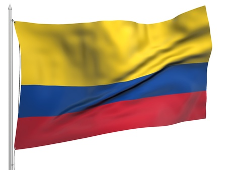 republic of colombia: Flying Flag of Colombia  Stock Photo