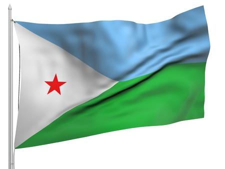 djibouti: Flying Flag of Djibouti
