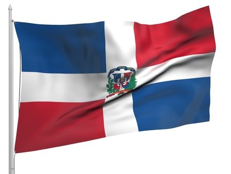dominican republic: Flying Flag of Dominican Republic  Stock Photo