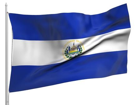 el salvador flag: Flying Flag of El Salvador  Stock Photo