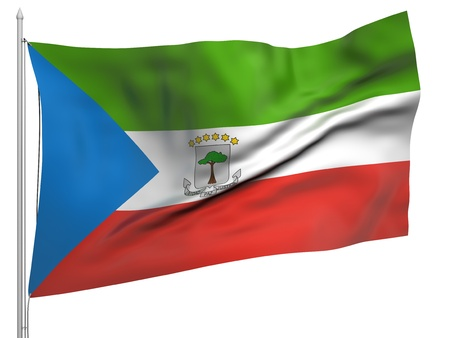 equatorial guinea: Flying Flag of Equatorial Guinea