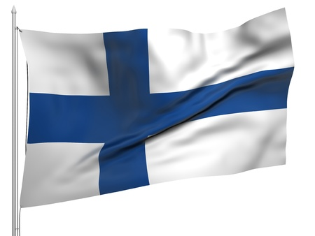Flying Flag of Finland  Stock Photo
