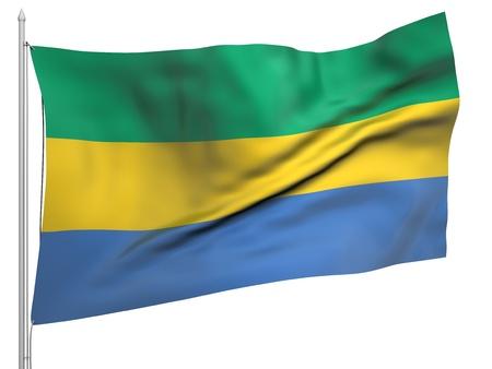 gabon: Flying Flag of Gabon  Stock Photo