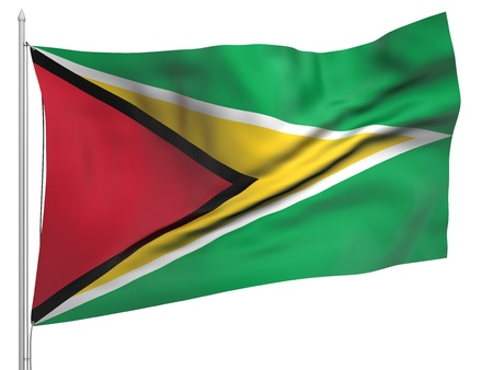 Flying Flag of Guyana  photo