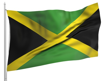 Flying Flag of Jamaica Stock Photo - 9833500