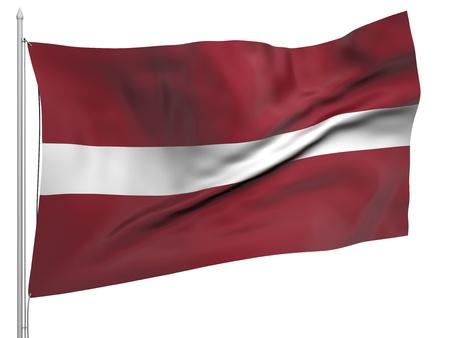 latvia: Flying Flag of Latvia