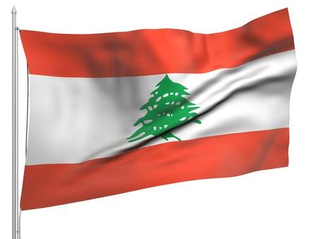 Flying Flag of Lebanon  Stock Photo - 9833543