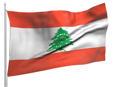 Flying Flag of Lebanon Stock Photo - 9833543