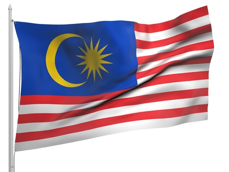 Flying Flag of Malaysia