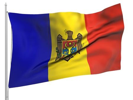 Flying Flag of Moldova