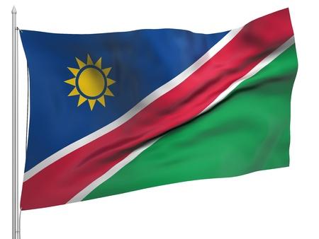 namibia: Flying Flag of Namibia  Stock Photo